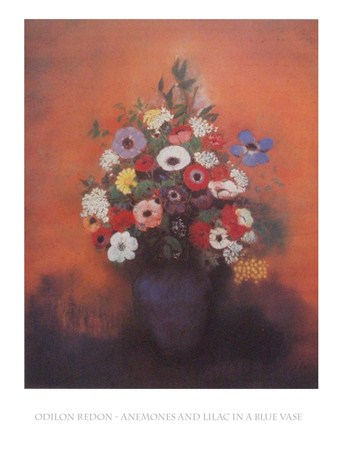 Anenomes and Lilac in a Blue Vase - Odilon Redon