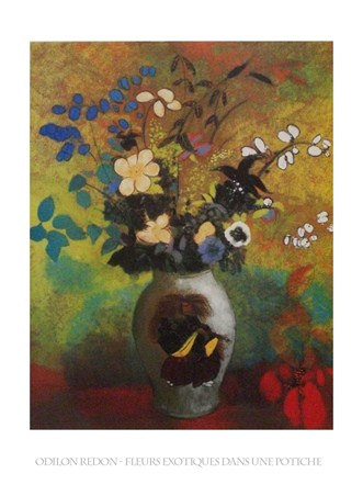 Framed Exotic Flowers - Odilon Redon