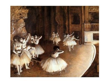 Framed The Rehearsal on Stage - Edgar Degas