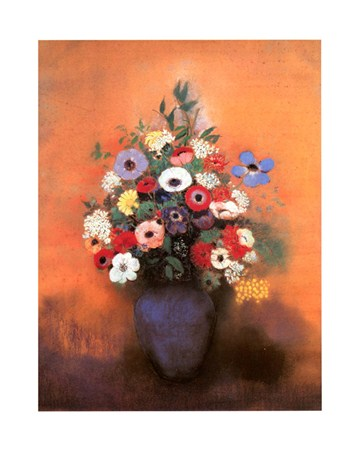 Anemones and Lilac in a Blue Vase - Odilon Redon