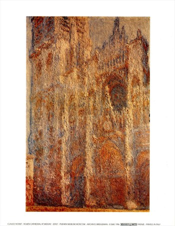Framed Rouen Cathedral At Midday - Claude Monet