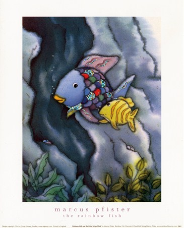 Framed Rainbow Fish and The Little Striped Fish - Marcus Pfister