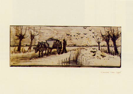 Ox Cart in the Snow - Vincent Van Gogh