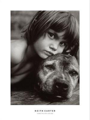 Young Girl With Dog - Keith Carter