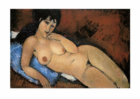 Nude on a Blue Cushion - Amedeo Modigliani