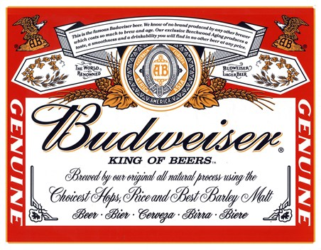 Framed Budweiser Label - King of Beers