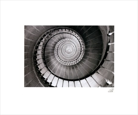 Abstract Spiral Staircase - Black and White Photography