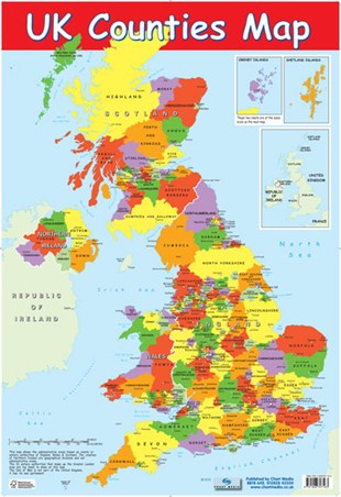 UK Counties Map, Educational Map