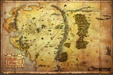 Framed Map of Middle Earth - The Hobbit