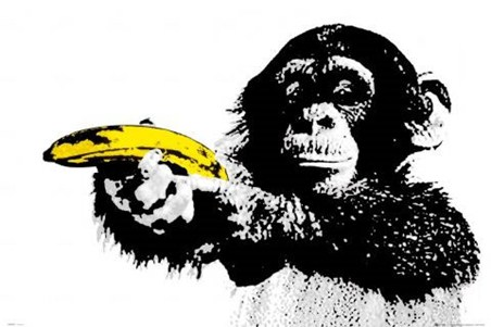 Monkey with Banana - Urban Art