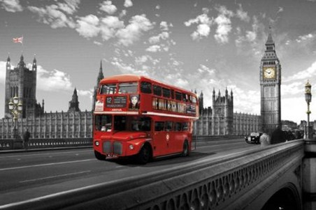 Red Bus on Westminster Bridge - Images of London
