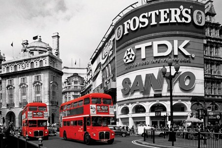Piccadilly circus red buses poster