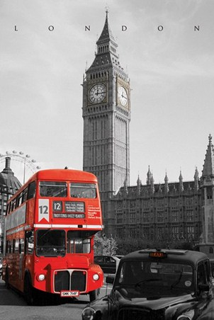 London Bus Passes Big Ben - Iconic Capital City