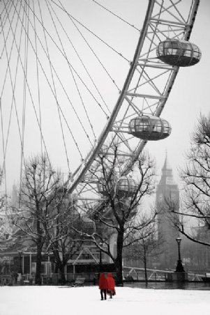 Snow On The South Bank - The London Eye
