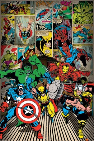 Here Come The Heroes Marvel Comics Poster Buy Online