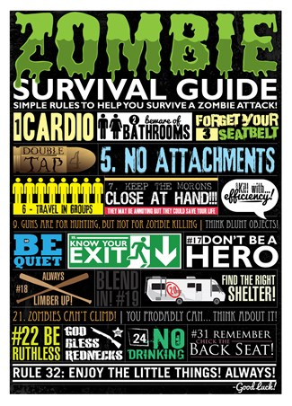 Framed Zombie Survival Guide - Simple Rules To Survive