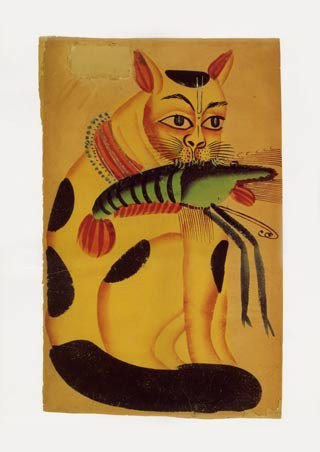 Cat with Prawn - Indian Popular Painting from Kalighat