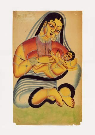 Framed Mother and Child - Indian Popular Painting From Kalighat