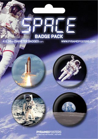 Man in Space and on the Moon - Space Button Badge Pack