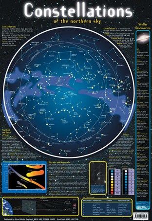 Constellations of the Northern Sky, Stellar Map Poster - Buy Online