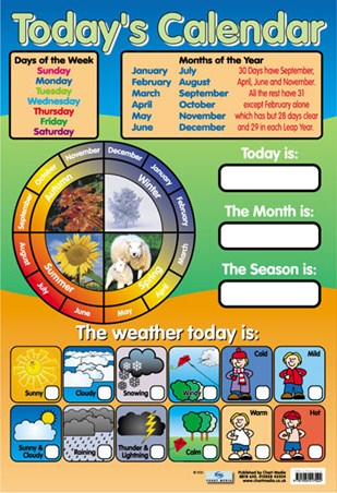 Today's Calendar, Educational Children's Chart