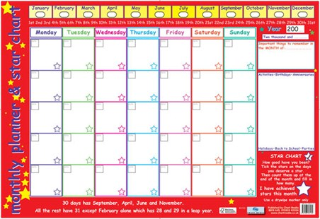 Framed Monthly Planner and Star Chart - Children's Planner