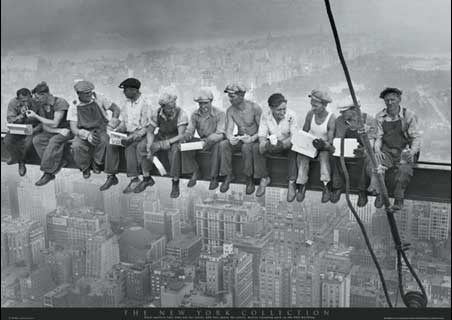 Men on a girder having lunch new york city collection poster
