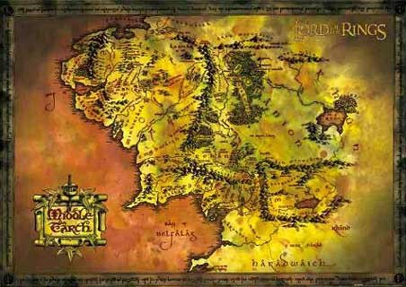 Middle Earth Map - Lord of the Rings