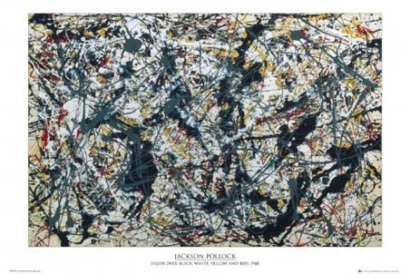 Silver on Black - By Jackson Pollock