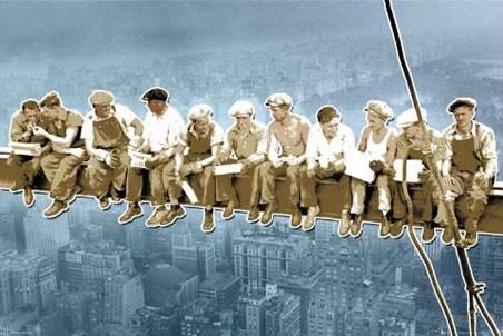 Framed Pop Art Style Men On A Girder - Above New York, USA