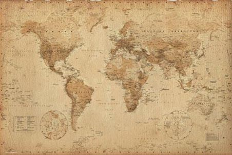 Antique Style Map, Geographical World Map
