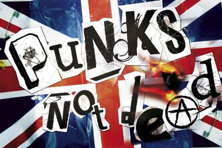 Flaming Union Jack - Punks Not Dead