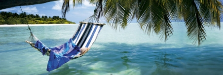 Hammock hanging over the Ocean - Tropical Beach