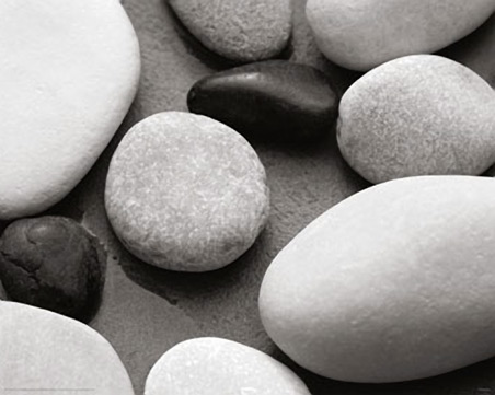 Black and White Pebbles - Sea Smoothed Stones