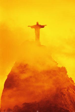 Sunset over Christ the Redeemer, Rio De Janeiro, Statue of ...