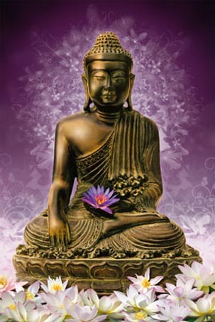 Sitting Buddha - Holding a Purple Lotus Flower