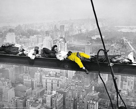 Yellow Highlight - Men on a Girder