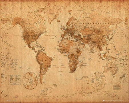 Antique Style Map - Map of the World
