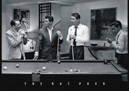 Sinatra, Martin, Lawford, Davis Jr; Playing Pool - Ocean ' s Eleven Rat Pack