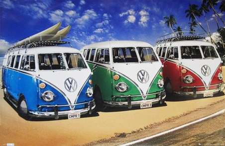 Camper Van Trio On The Shoreline - Volkswagens On The Beach