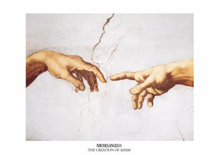 The Creation of Adam, (hands detail) - Michelangelo Buonarotti