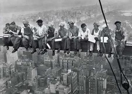 Men on their Break, Sitting on a Girder - New York City Collection