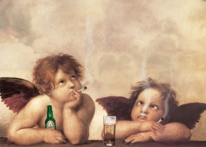 Raphael´s Cherubs with Cigs & Beer - Sistine Madonna - Apologies to Raphael