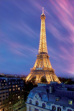 Eiffel Tower At Dusk Paris France Poster Buy Online