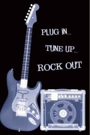 plug in tune up rock out x ray style guitar and amplifier poster popartuk. Black Bedroom Furniture Sets. Home Design Ideas