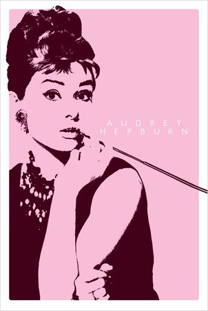 Smoking a Cigarillo (Pink) - Audrey Hepburn