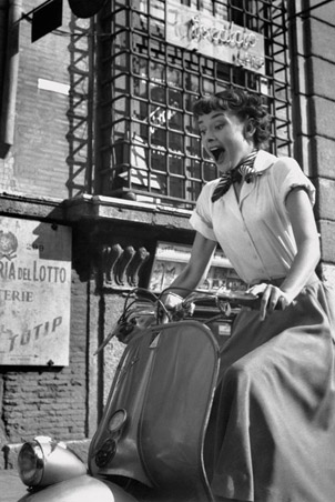 Riding a Vespa In Roman Holiday - Audrey Hepburn