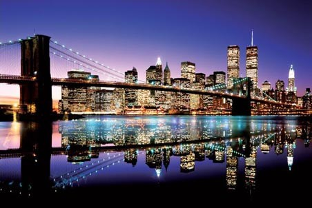 twilight technicolor brooklyn bridge poster buy online. Black Bedroom Furniture Sets. Home Design Ideas