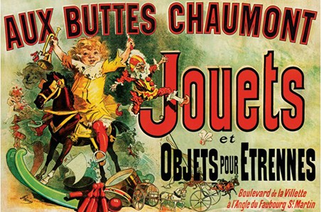 Aux Buttes Chaumont Jouets, Vintage Advertising Poster