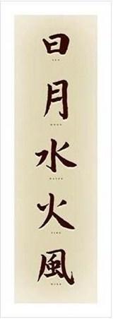 Sun, Moon, Water, Fire, Wind - Chinese Script